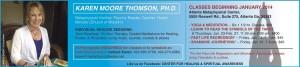 Aquarius Ad for Classes with Karen M. Thomson Beginning in January 2014